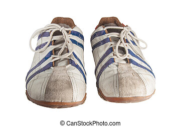 Italian Tennis Shoes - White, red and blue tennis shoes over...