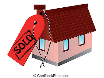 sold sign and home isolated on white