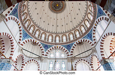 Rustem Pasha Mosque - ISTANBUL, TURKEY - MAY 03, 2014: Dome...