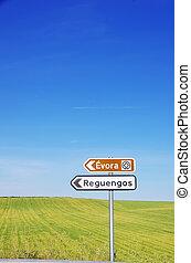 Portugese road signs, alentejo region