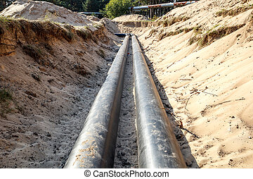 Pipeline construction - A unfinished pipe line construction...