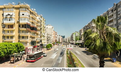 Blurred cars traffic in sunny day in Antalya, Turkey
