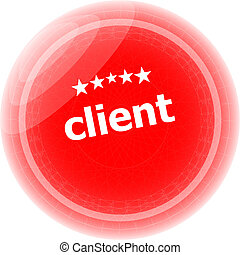 client on red rubber stamp over a white background