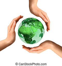 Conceptual Recycling Symbol over Earth Globe - Conceptual...