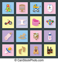 Baby and kids flat icons set vector graphic illustration