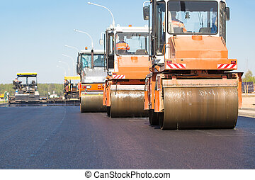 Road works - Pneumatic steam road rollers machines...