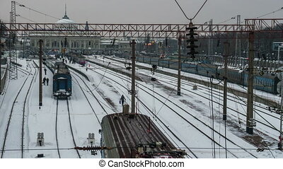 Suburban train arriving at the railway station timelapse