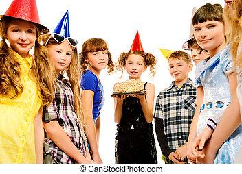 happy birthday - Group of happy kids celebrating birthday...