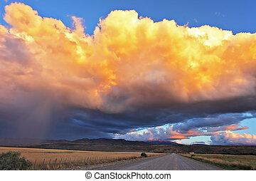 The huge cumulonimbus cloud - Summer rain. The huge...