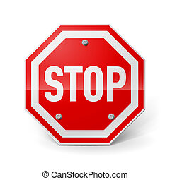 Stop sign - Shiny metal stop sign isolated on white...