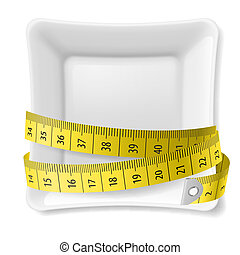 Plate and tape measure - White square plate with tape...