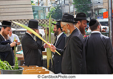 The Sukkot Holiday city market - Bnei Brak - September 22: A...