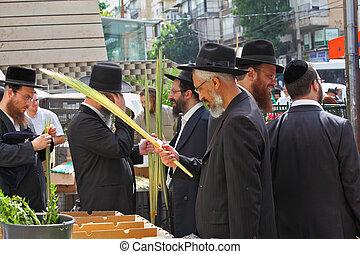 The Sukkot. Holiday city market - Bnei Brak - September 22:...