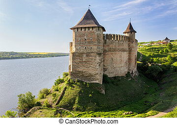 Old Medieval Castle on Dniester riverside in Khotyn, Ukraine...