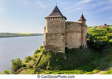 Old Medieval Castle on Dniester riverside in Khotyn, Ukraine...