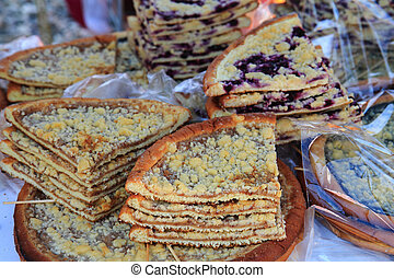czech apple and other fruits sweet pie cake as food...