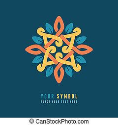 Vector abstract emblem - outline monogram - flower symbol -...