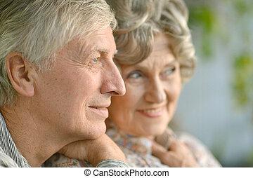 Portrait of a happy senior couple - Close-up portrait of a...