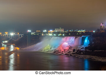 Illumination light of american Falls Niagara - Illumination...