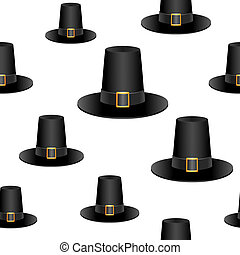 Pilgrim hat background - Seamless background design with...