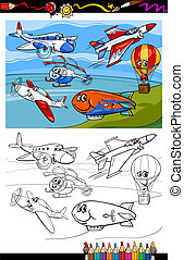 planes and aircraft cartoon coloring book - Coloring Book or...