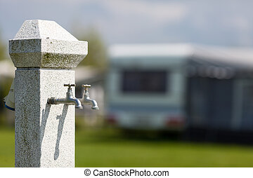 Water supply at camping site - Outdoors water tap at camping...