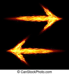 Two fire arrows pointing in opposite directions on black...