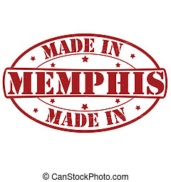 Made in Memphis - Stamp with text made in Memphis inside,...