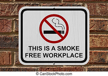 Smoking Free Workplace Sign, An red and white sign with...