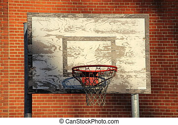 Old and worn outdoor basketball net with red brick...