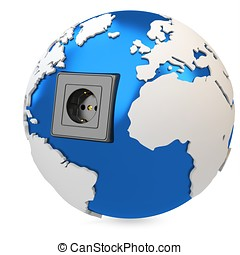 3d earth globe with electrical socket
