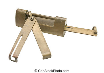 Antique Lock - An antique lock made of brass with the key...