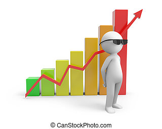 chart - A 3d people near a chart with rising graph
