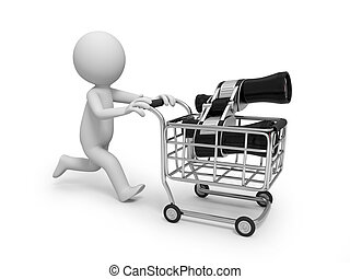 shopping cart - A 3d small people with shopping cart