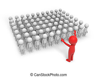 teamwork - Large crowd of 3d people leaded by a red leader