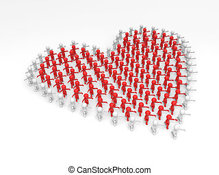 lovers -  3d people,heart, Large crowd of people