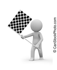 Checker Flag - A 3d people holding a Checker Flag
