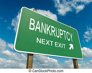 bankruptcy - Road sign to bankruptcy with blue sky