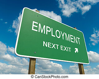 employment - Road sign to employment with blue sky