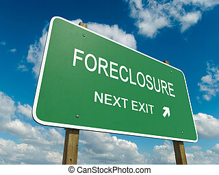 foreclosure - Road sign to foreclosure with blue sky