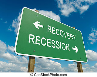 recovery or recession - Road sign to recovery or recession...