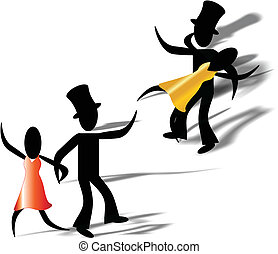 Dancing the night away - Two stick people enjoying each...