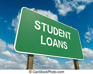 student loan - Road sign to student loan with blue sky