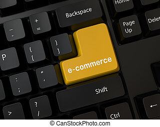 e-commerce - Black computer Keyboard with a word e-commerce