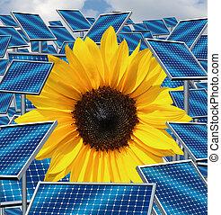 Solar Energy - Solar energy concept as a group of three...