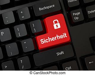 Sicherheit - Black computer Keyboard with a word Sicherheit