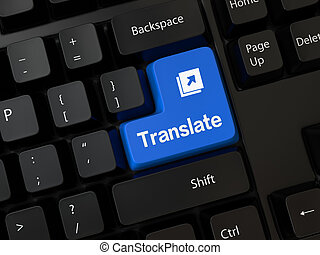 translate - Black computer Keyboard with a word translate