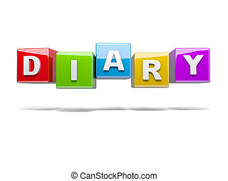 Diary - Inscription on the cubes of red,diary