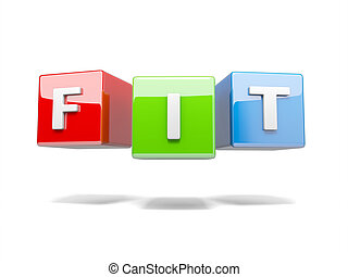 Fit - Inscription on the cubes of red,fit