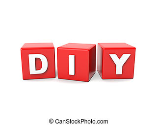 Inscription on the cubes of red diy